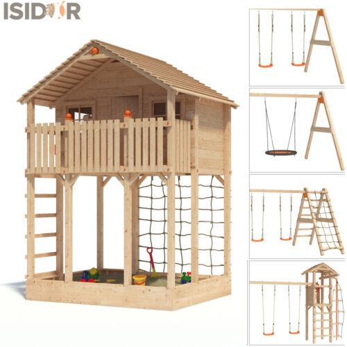 ISIDOR Monturio Baumhaus auf 2,00 m Podesthöhe Spielturm Schaukel Kletternetz