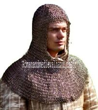 Medieval Chainmail Armor HOOD/COIF 9 MM Flat Riveted Mild Steel