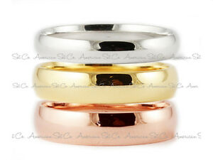 SOLID 18k WHITE YELLOW ROSE GOLD PLAIN COMFORT FIT WEDDING BAND RING