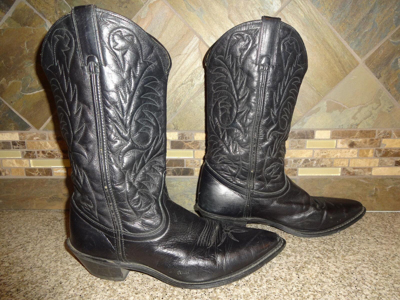 Womens  10670 Sz 8M Black Leather Cowboy Boots