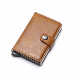 Portable-Leather-PU-Credit-Card-Holder-Money-Cash-Wallet-Clip-RFID-L-BROWN-NEW