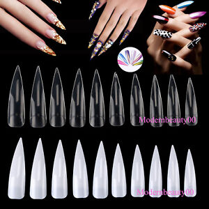 Details about 500/1000PCS Long Sharp Fake Nail Art Tips Acrylic Gel Salon  tools US Delivery