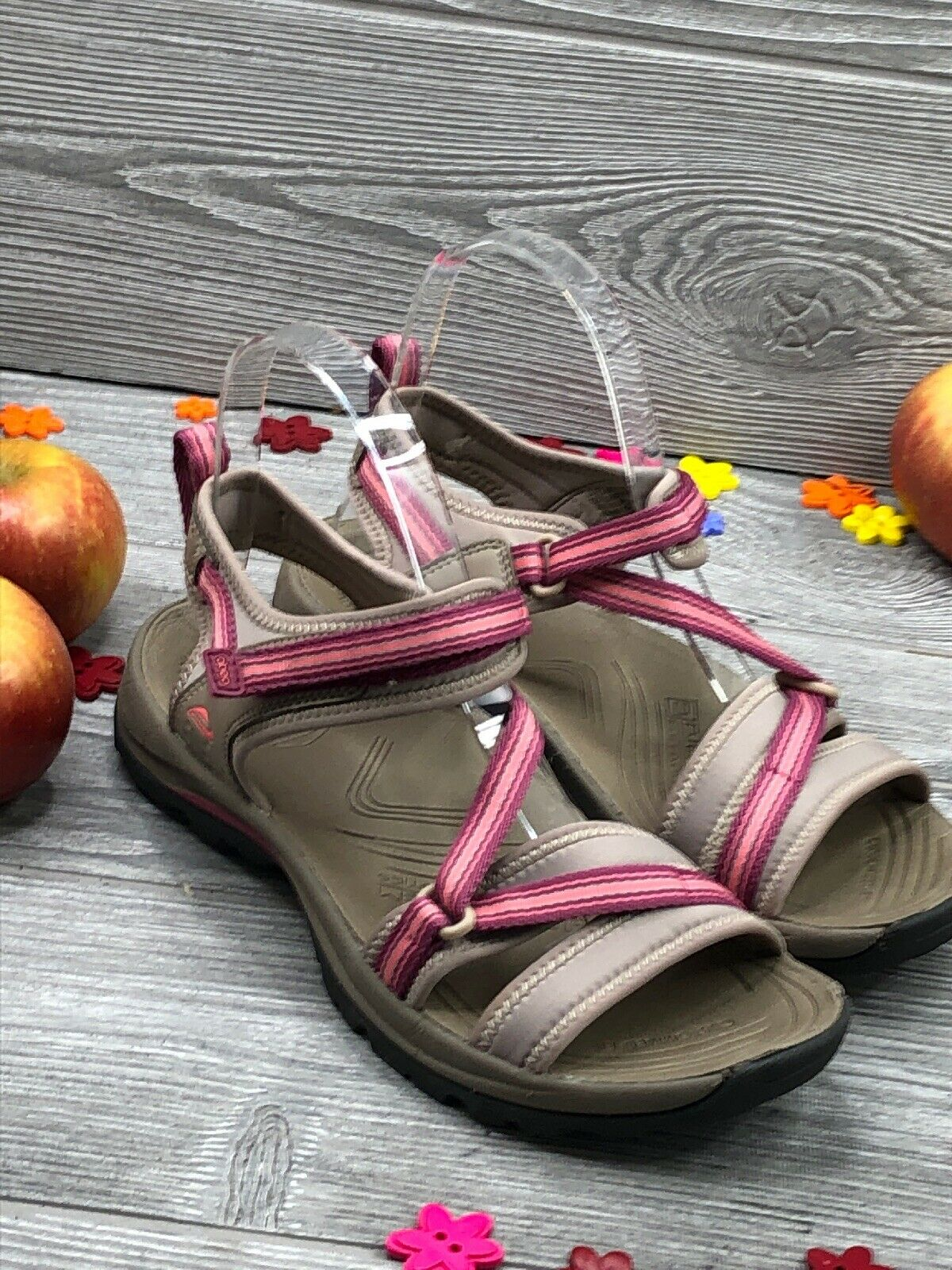 Abeo Women's Dunes Sandals Beige Pink Size US 7 Neutral Footbed ( 2200 )