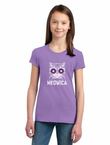 Meowica America Patriot Cat 4th of July Girls/' Fitted Kids T-Shirt Independence