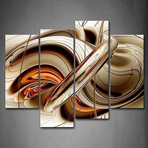 Framed Abstract Brown White Lines Wall Art Painting The Canvas Print Pictures
