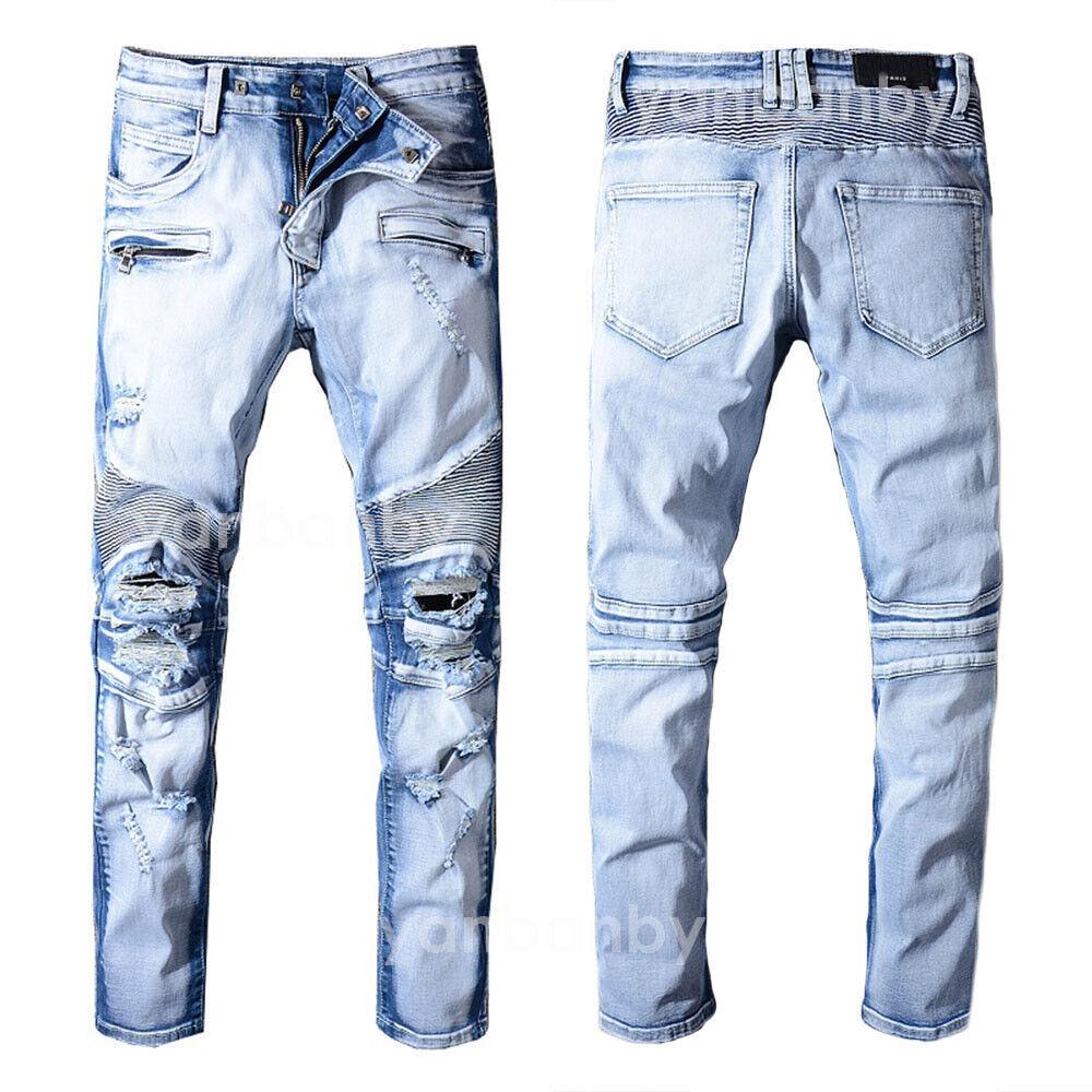 New Men's France Style Moto Pants Destroyed bluee Biker Jeans Slim Trousers B1076