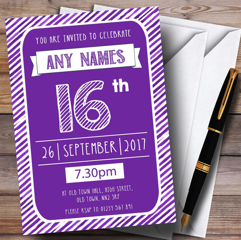 lila & Weiß Stripy Deco 16th Personalised Birthday Party Invitations