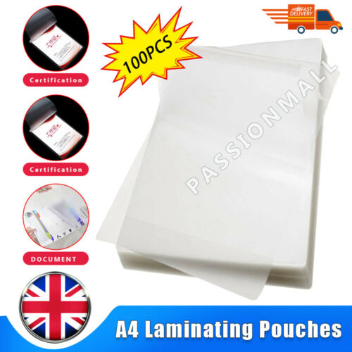 A4 200//100pcs Laminating Pouches Gloss Micron Laminator Laminate Sheets UK