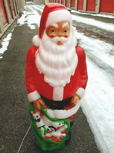 Vintage-Empire-46-Blow-Mold-Giant-Santa-Green-Toy-Sack-Christmas-Lighted-AA