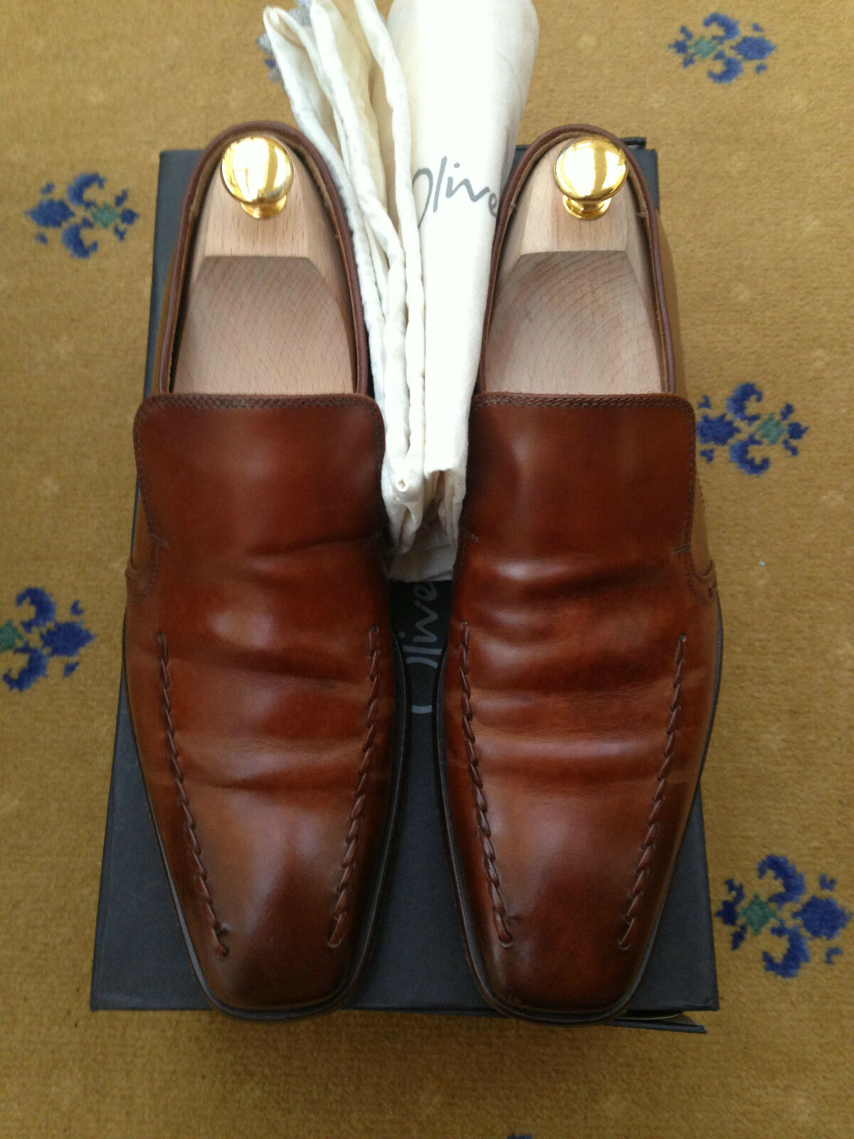 OLIVER SWEENEY MEN& 039;S schuhe TAN braun LEATHER LOAFERS MOCCASIN UK 7 US 8 EU 41