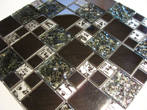Glasmosaik Edelstahl Mosaik Metall Metalleffekt Fliese silber PHARAO perlmutt