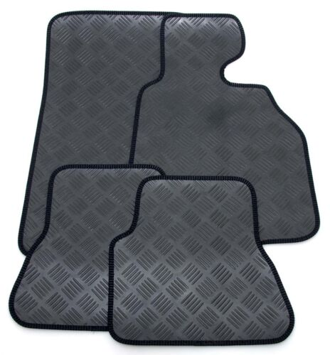Black Ribb Tri 3mm Thick Rubber Car Mats for Chrysler Grand Voyager Stow 04-08