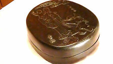 ANTIQUE 19C CHINESE INKSTONE SHOWS FU CARVING ON THE COVER IN FITTED BOX,MARKED