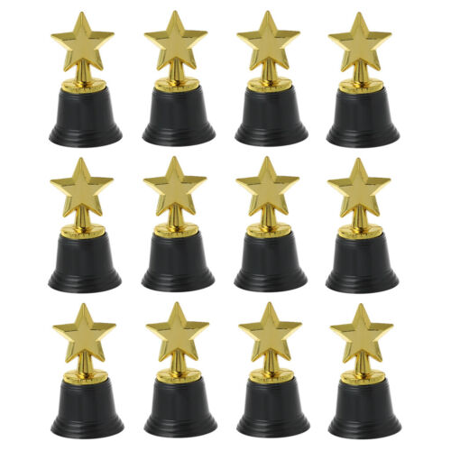 """12PCS Star Gold Award Trophies 4.5/"""" Gold Star Trophy For Awards Winners Toy"""
