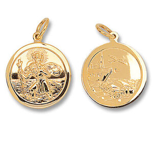 St christopher pendant gold saint christopher 22mm double sided st image is loading st christopher pendant gold saint christopher 22mm double mozeypictures Images