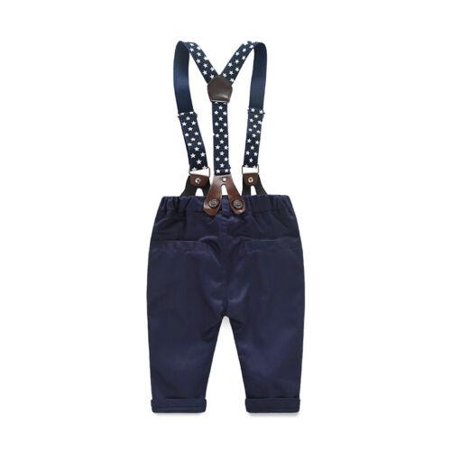 2pcs Newborn Infant Boys Long Sleeve Plaids Shirt+Suspender Pants Gentleman Suit