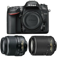 Nikon D7200 24MP HD Digital SLR Camera Body (Black) + Nikon 18-55mm Nikkor Zoom Lens + Nikon 55-200mm Nikkor VR II Lens - Manufacturer Refurbished