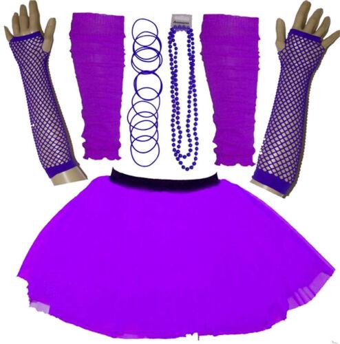 Le Ragazze Nuovo Neon UV Tutu Guanti Scaldamuscoli Perline /& Braccialetti Costume Nubilato