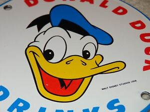 VINTAGE-DONALD-DUCK-SOFT-DRINKS-6-034-PORCELAIN-METAL-SODA-POP-GAS-WALT-DISNEY-SIGN