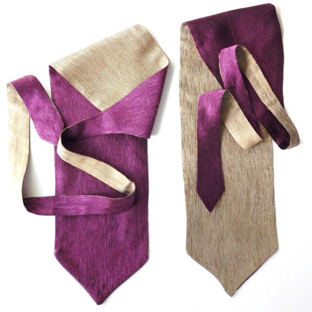 Reversible cravat Mens formal wedding Single wing Self tie Purple champagne NEW