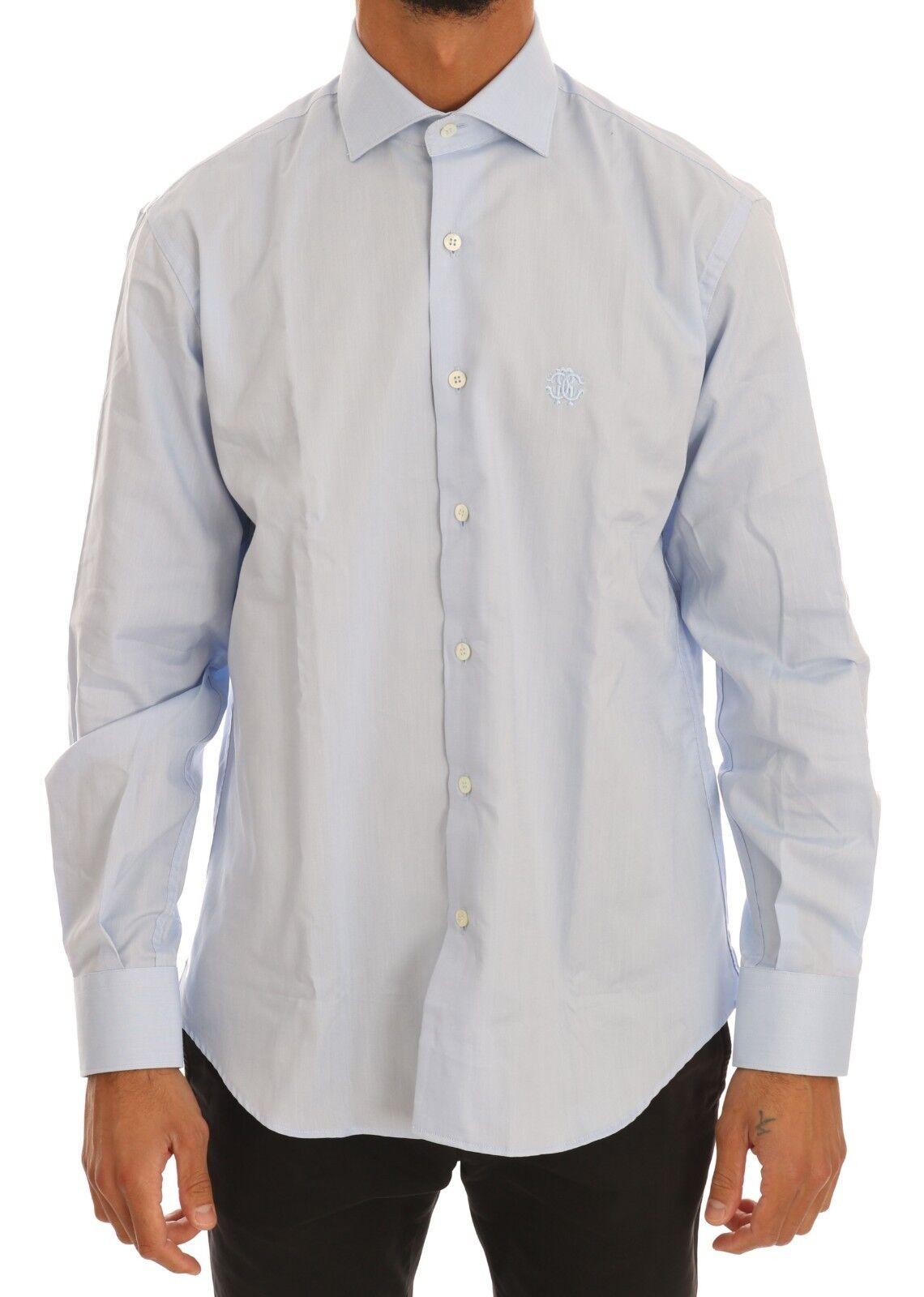 NEW  ROBERTO CAVALLI Shirt Dress Light bluee Cotton Slim Fit IT39   US15.5  S