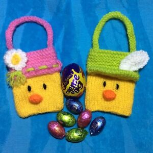 Knitting pattern easter chick boy and girl charity gift bags 9cm x image is loading knitting pattern easter chick boy and girl charity negle Images