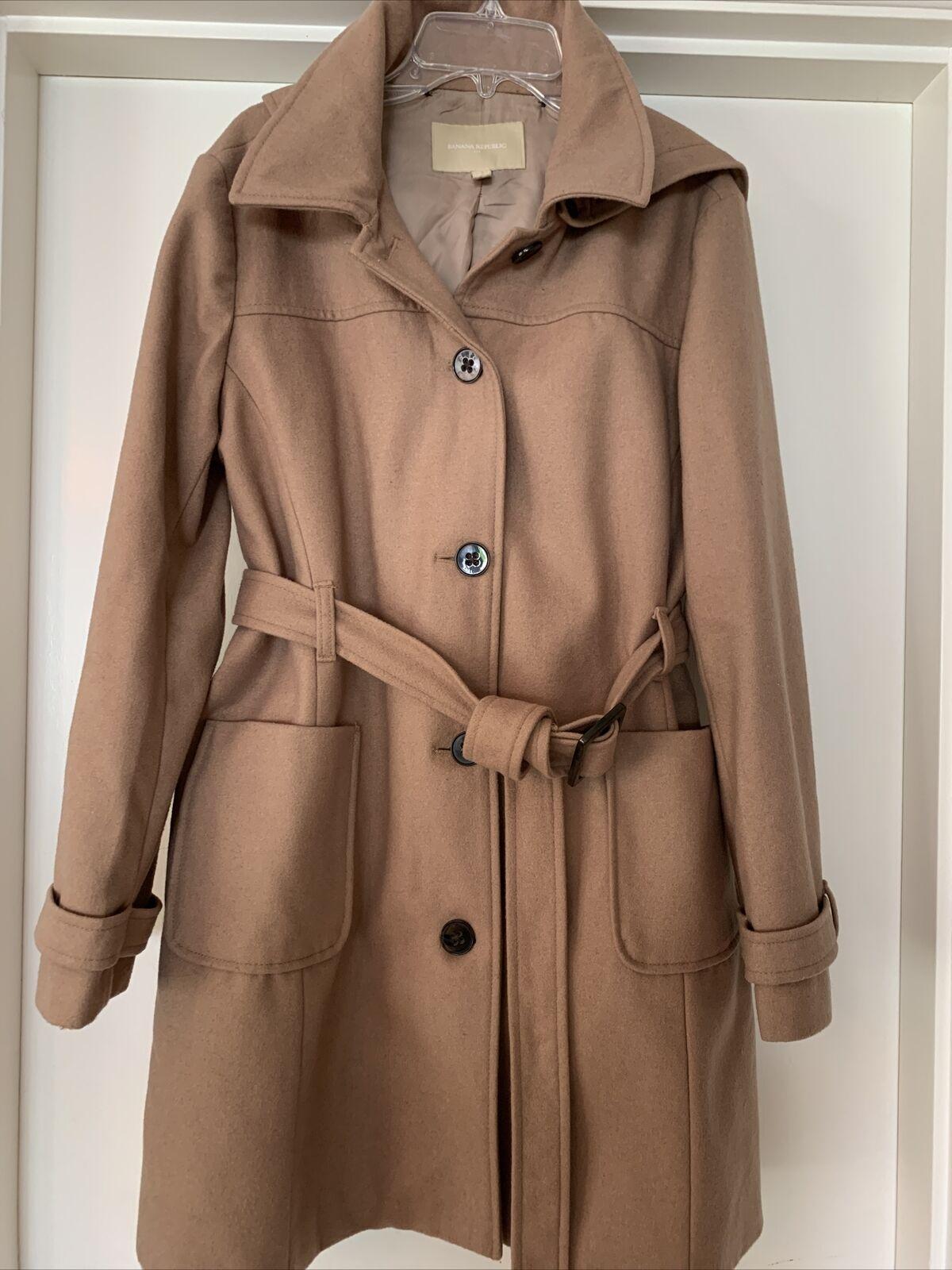 Banana Repulblic Wool Jacket Belted Hooded Coat Camel Tan Color-Petite L LP