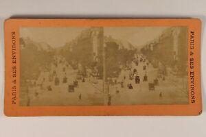 Francia Parigi Animato Boulevard Da La Madeleine Foto - Vintage Albumina c1890