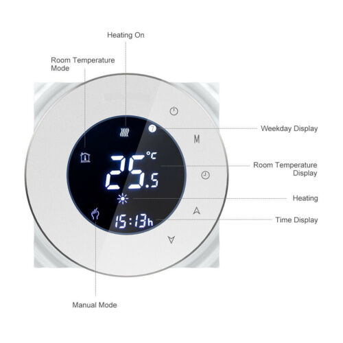 Smart WiFi Thermostat for Electric Underfloor Heating Touchscreen Programmable