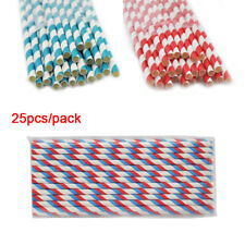 Mixed Party Decoration CE 25Pcs Durable Striped Paper Drinking Straws