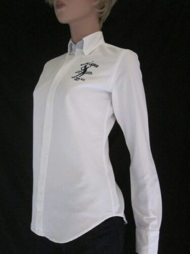 Ralph Lauren Slim Fit White Blouse Tennis Crest  NWT Retail $125