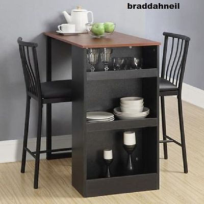 Counter Height Dining Table Small Kitchen Set Small Space Dinner Chair 3Pc  Black 65857162868 | eBay