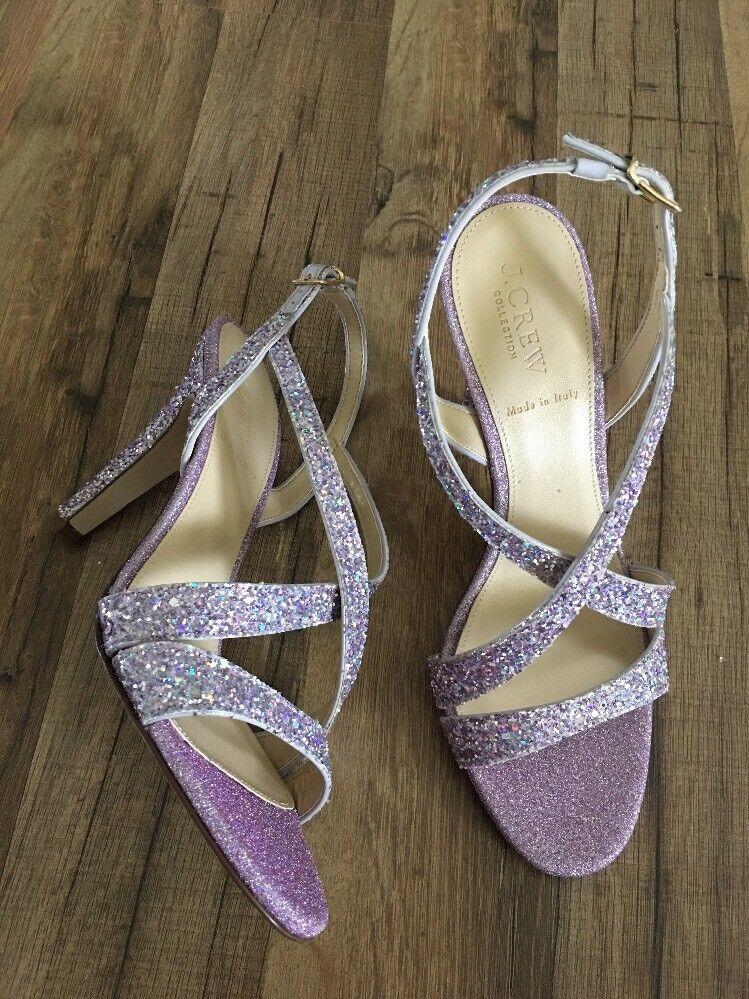 New JCrew Collection Crisscross Strappy Heels (105mm) Glitter Lavender Sz8 H5586
