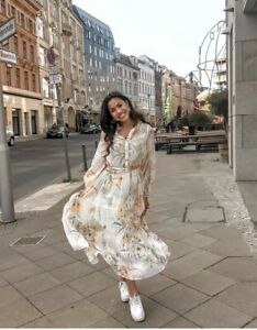 672b2808e28 H M SS2019 TRENDY WHITE FLORAL CREPED CHIFFON LONG DRESS BLOGGERS ...