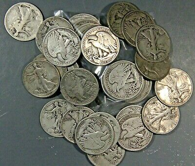S Old US Coin Lot 1ea 90/% Silver WALKING LIBERTY Half Dollar 1916-1947 P D