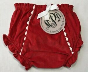 NWT-Mud-Pie-Baby-Girls-0-12-Months-Red-Corduroy-Monogram-Me-Holiday-Bloomers