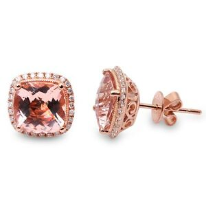 Details About 4 06ct F Vs Morganite Diamond Halo Cushion Cut Studs 14kt Rose Gold Earrings