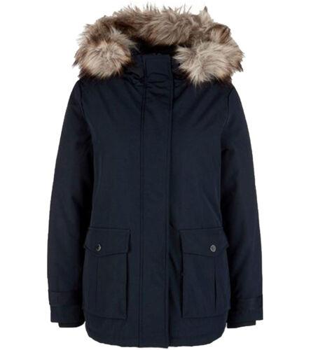 s.Oliver Schnee-Mantel Damen Jacke für die kalte Jahreszeit Fellimitat Marine