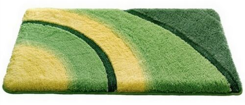 MARKEN-BADEMATTE grün-gelb BAD-TEPPICH ~ BAD-GARNITUR ~ RUND-MATTE NEU