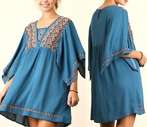 9e8add0c9391 Umgee Dress Size XL S M L Embroidered Tunic Kimono Sleeve Swing Boho ...