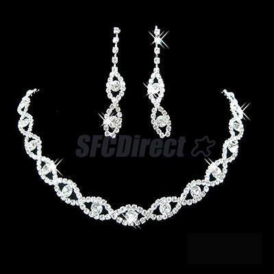 Wedding Party Jewelry Clear Crystal Diamante Twisted Necklace Drop Earrings Set