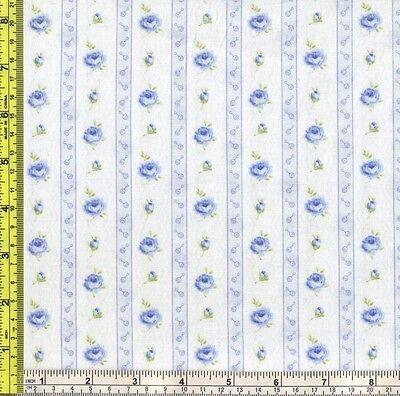Tiny Baby Rattle Blue Rose Stripe Cotton RJR 6773 Fabric 1//4 yd 22.5 cm off bolt