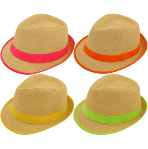 Straw Gangster Hat With Neon Band /& Trim More You Buy The Cheaper They Are