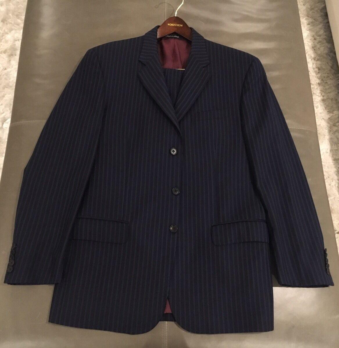 Paul Smith London  Slim Fit Mens 100% Wool Navy Suit 42L 32W