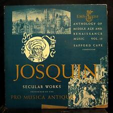 Cape Pro Musica Antiqua Josquin Des Prez Secular Works LP VG EMS 213 USA 1950