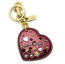 Coach Stardust Studs Heart Key Fob Chain F21393 Metallic Cherry Leather