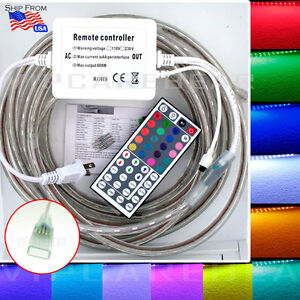 1M-40M 110V 5050 SMD RGB 60 LED/M Color Strip Rope Light IP68 Waterproof +Remote