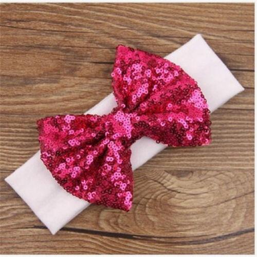 Child Sequins Headband Cute Bow Baby Stretchy Hairband Bowknot Elastic Head Wrap