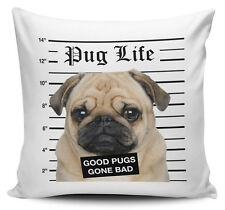 Pug Life Good Pugs Gone Bad Cushion Cover - 40cm x 40cm