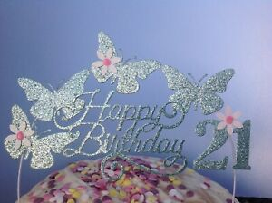 Details about Birthday Cake Decoration Glitter Butterfly Topper flowers sparkly